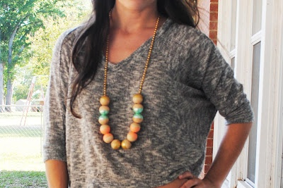 painted wooden necklace