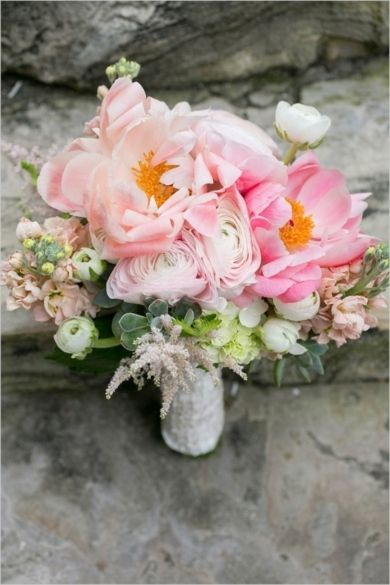 Beautiful blush, peach and ivory rustic bouquet | Intimate Classy Destination Wedding by Captured Photography on Wedding Chicks — Loverly Weddings