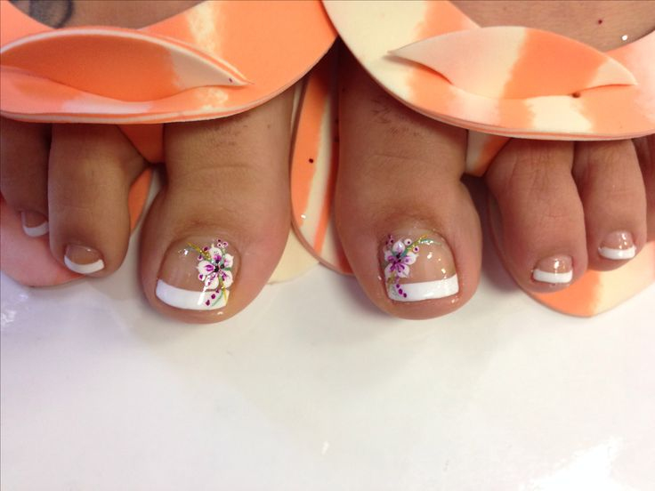 Tropical flower toes design - The 25+ Best French Pedicure Designs Ideas On Pinterest Wedding
