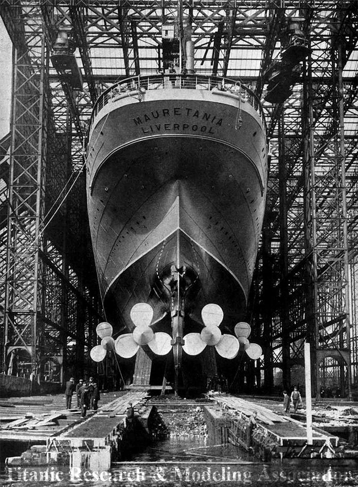 """ The RMS Mauretania just before her launch on September 20th, 1906. """
