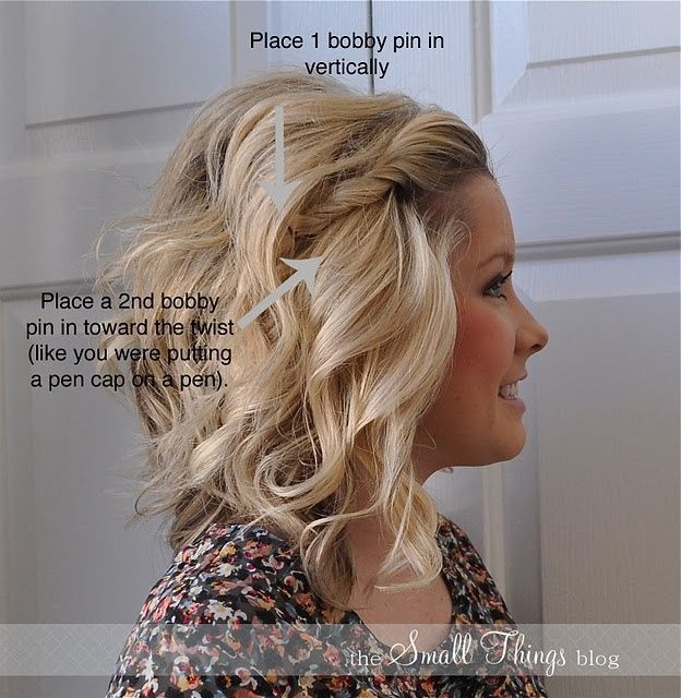The Two-Bobby-Pin Front Twist | Quick & Easy Professional Look Hair Updo Tutorials By Makeup Tutorials http://makeuptutorials.com/easy-hairstyles-for-work/