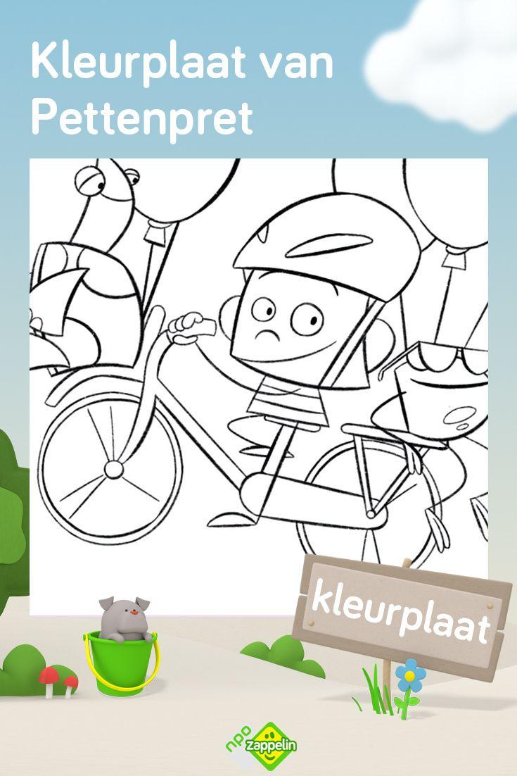 Kleurplaat Pettenpret Op De Fiets Kleurplaten Kleurplaten Voor Kinderen Kinderkleurplaten