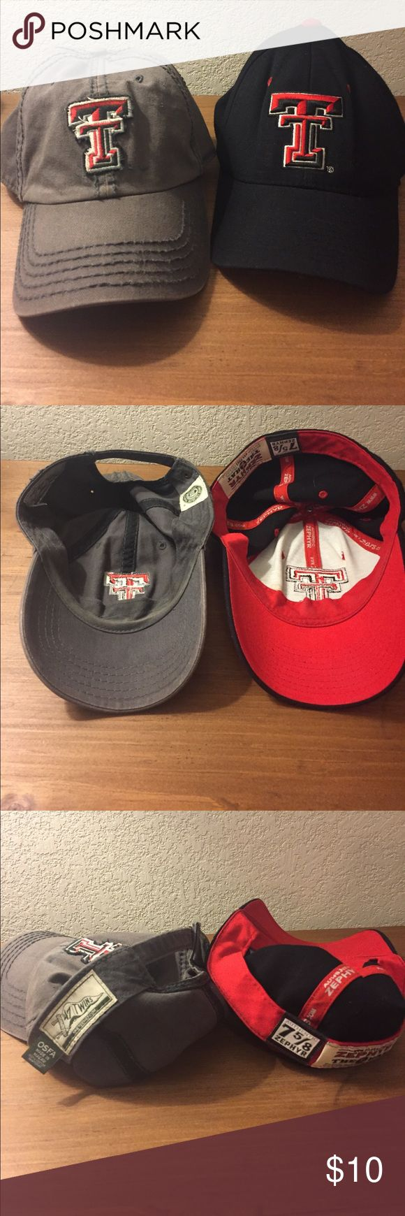 Pair of Texas Tech baseball caps This post is mainly for the black Zephyr hat on the right, because the grey one has a small stain. I still wore it several times. It's not noticeable. Anyway, OSFA on the left and 7-5/8 on the right. Wreck em!! Zephyr Accessories Hats