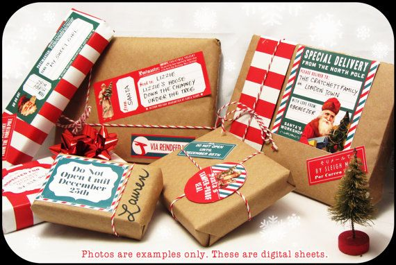 Christmas Mail from Santa digital collage sheet set FOUR SHEETS decorations for your holiday gifts and presents on Etsy, $12.00