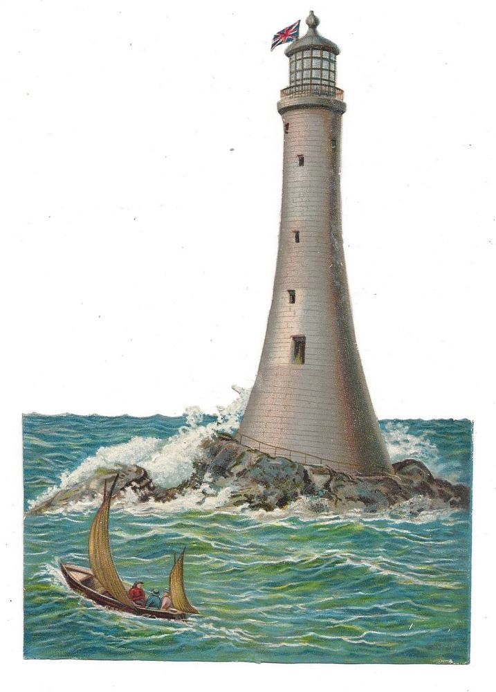 Victorian Die Cut Scrap Lighthouse and 4 Sailboats