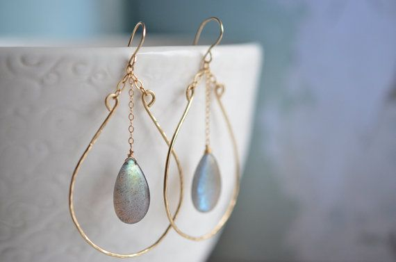 Smooth Labradorite Teardrop 14kt Gold Filled Wired Horseshoe Handcrafted Gemstone Earrings