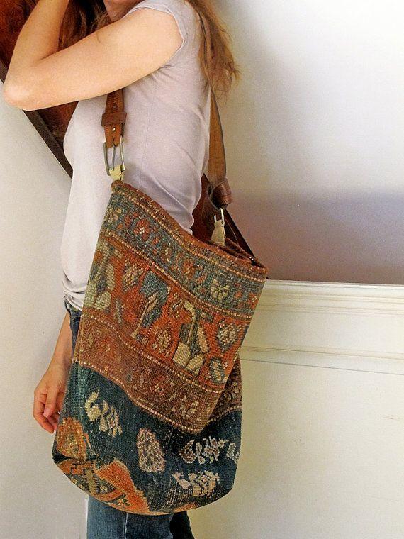 Carpet Bag Antique Kilim Tote Market or Messenger by JwrobelStudio