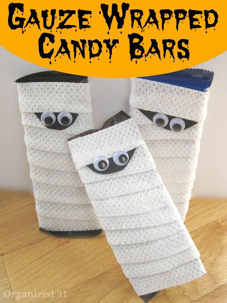 Gauze Wraped Candy Bars for Halloween - Organized 31