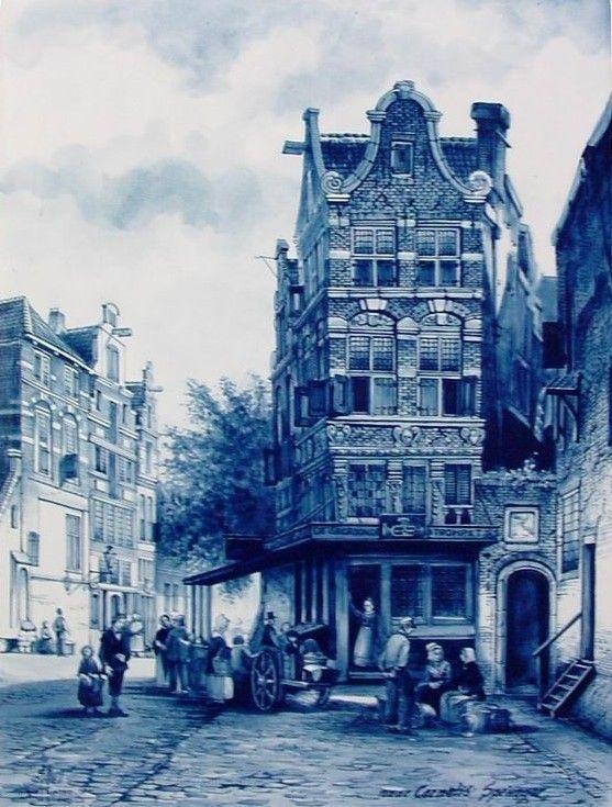 Delft Tile Blue, Old Dutch Scene
