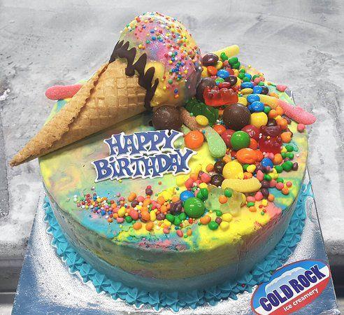 Rainbow cake cone explosion