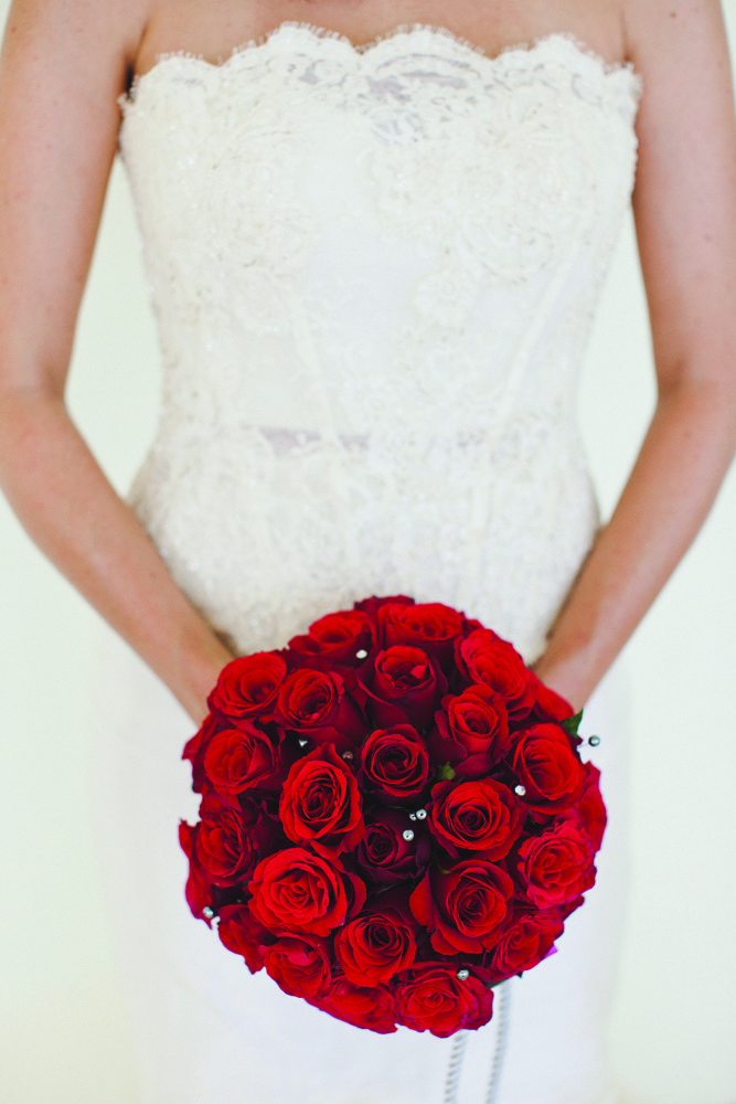Red Rose with silver and white pearls by Tirtha Bridal Uluwatu Bali #wedding #bouquet