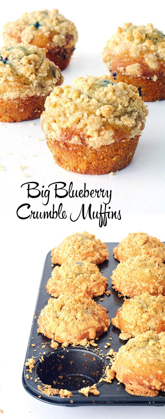 Learn how to make high top muffins at home! These Bakery-style Big Blueberry Crumble Muffins are so light and fluffy | Sweetest Menu