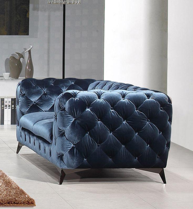 Divani Casa Delilah Modern Blue Fabric Loveseat - VIG Furniture VGCA1546-BLU-LOVE