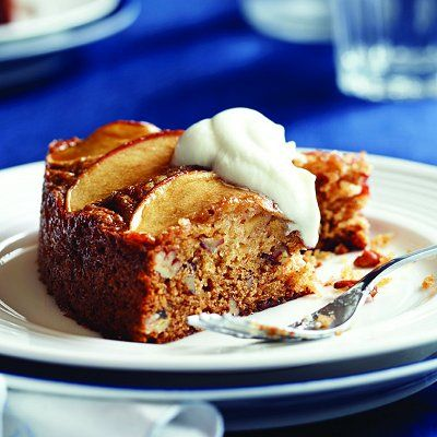 Apple-pecan olive-oil cake. Get the recipe: http://food.chatelaine.com/recipes/view/apple-pecan-olive-oil-cake