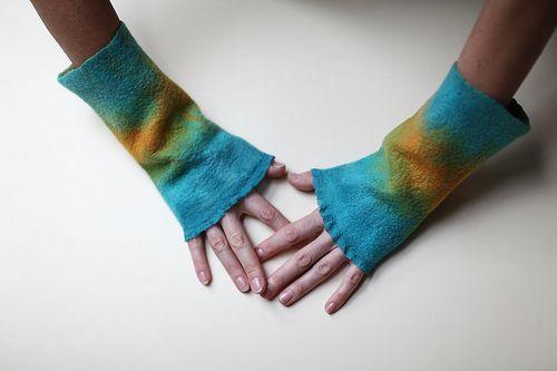 Nuno Felted Mittens Wrist Warmer