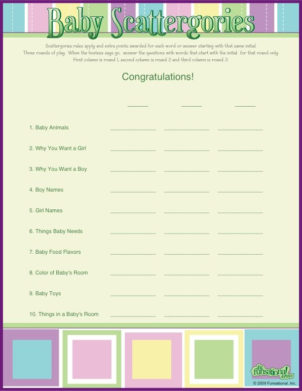 baby scattergories baby names girls baby showers shower ideas