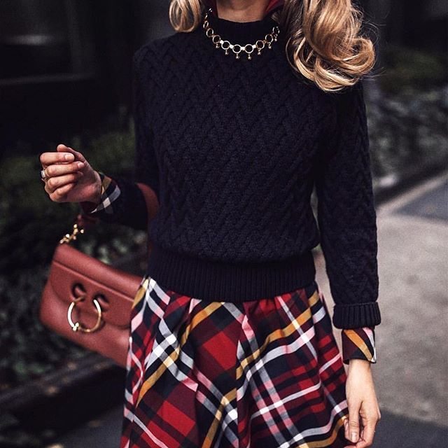 Tartan departure. Swooning over this festive look featuring our Tartan Poplin Shirt Dress on @maryorton.