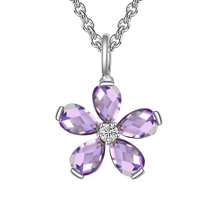 Colier și pandantiv Nahla Jewels argint floare cu zirconii lavandă