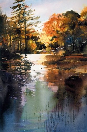 """""""Autumn Morning"""" by  Joe Cibere.  Great mood and wonderful use of warm and cool colors.:"""