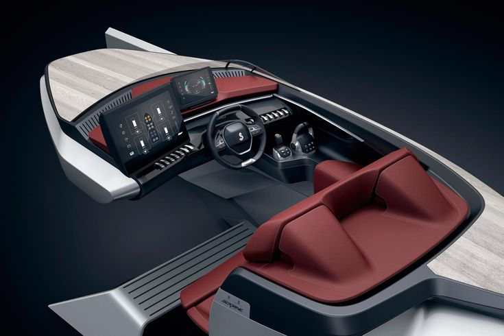 Peugeot has unveiled the innovative Sea Drive Concept, created in partnership with global leisure craft expert, BENETEAU, at the Nautic Paris Boat Show 2017. Designed and built by Peugeot Design Lab, this unique concept combines the ergonomics of the Peugeot i-Cockpit® featured in its popular SUV range. #technology #boat #designideas