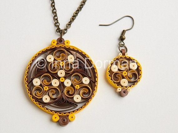 Celtic paper filigree/quilling jewelry by InaQuillingOrchard