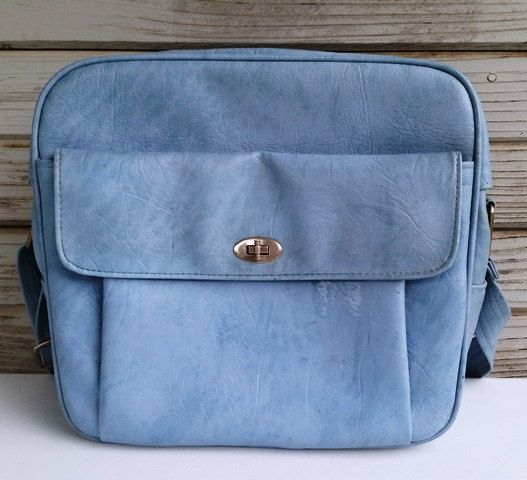 Vintage Blue Travel Overnight Bag 1960s Samsonite Carry On Luggage Flight Bag Retro Travel - pinned by pin4etsy.com