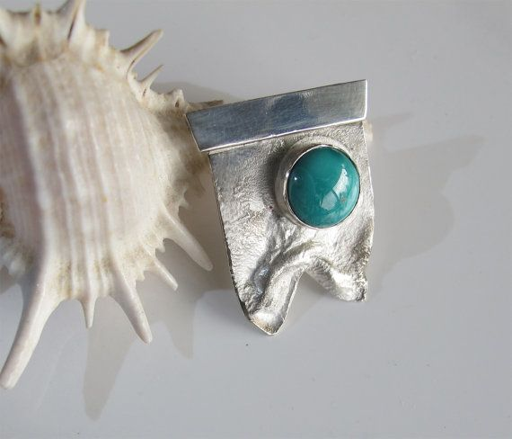 Turquoise Pendant, Sterling Silver with December Birthstone, Handcrafted