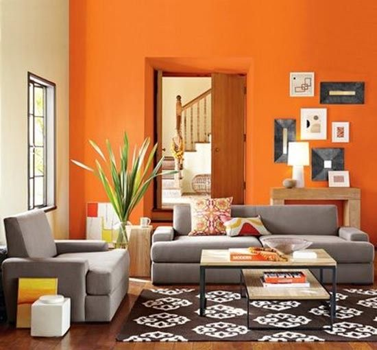 Orange Living Room Neutralizing Color Scheme With Blue Gray And Brown And  White/black Accents.