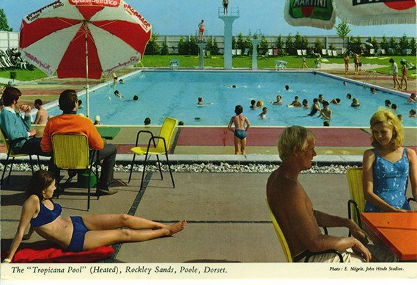 John Hinde collection. The Tropicana Pool (heated) , Rockley Sands. Poole, Dorset.