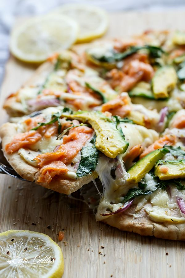 Cafe Delites | Smoked Salmon and Avocado Pizza | http://cafedelites.com