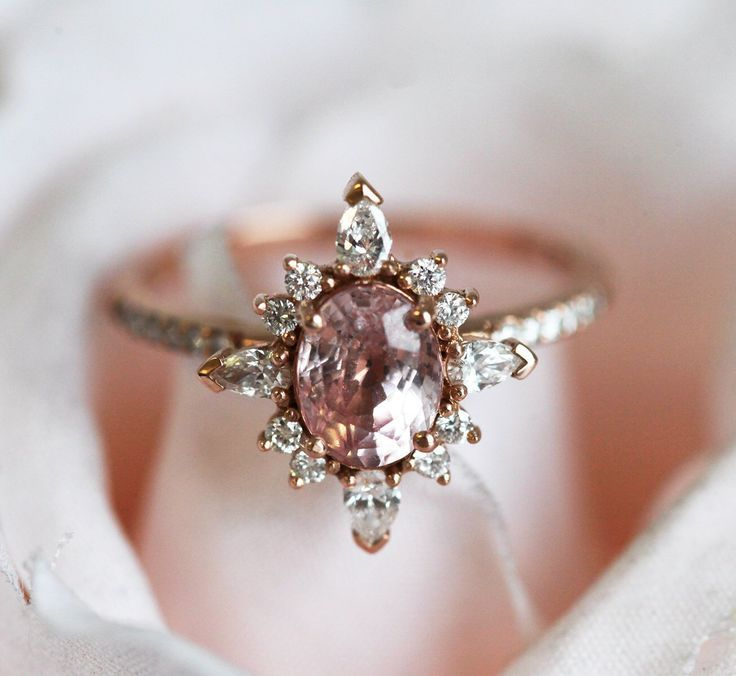 Vintage Pink Sapphire Engagement Ring Rose Gold, Oval Peach Sapphire Ring with Diamonds and pave diamond band