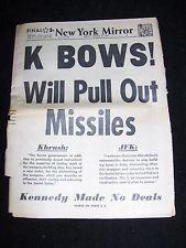 OCT. 29, 1962 NY NEWSPAPER: KENNEDY CUBAN MISSILE CRISIS; KHRUSHCHEV BACKS DOWN