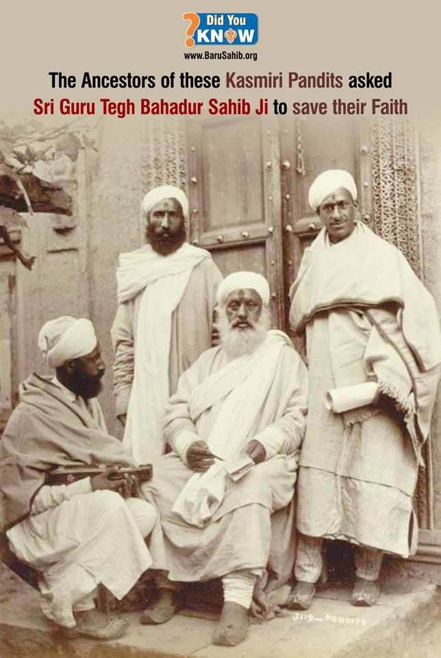 #DidYouKnow  The Ancestors of these Kasmiri Pandits asked Sri Guru Tegh Bahadur Sahib Ji to save their Faith!  Dhan Hind di Chadar Guru Tegh Bahadur Ji
