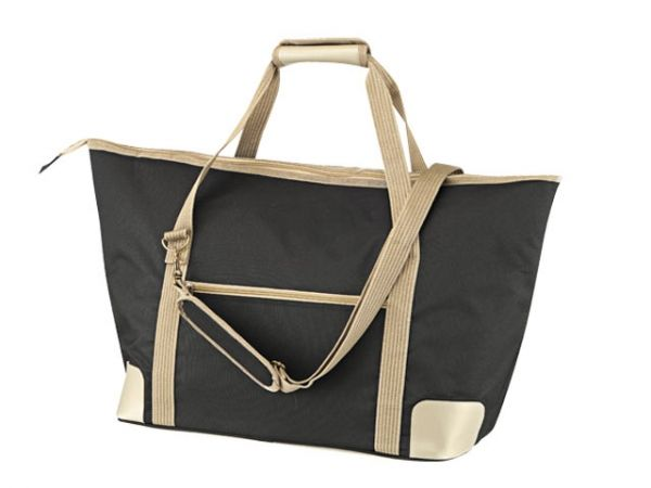Sunset Picnic Bag DESCRIPTION   Picnic bag with main compartment for carrying food & drinks. Another compartment contains wine glasses, plates, cutlery, napkins for 4 people and a corkscrew. 66.5cm x 39cm x 22cm