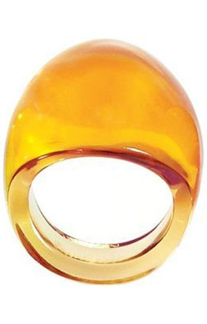 Lalique Cabochon Amber Ring