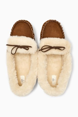 a399b66ce95c Chestnut Premium Suede Moccasin Slippers Next Size 6