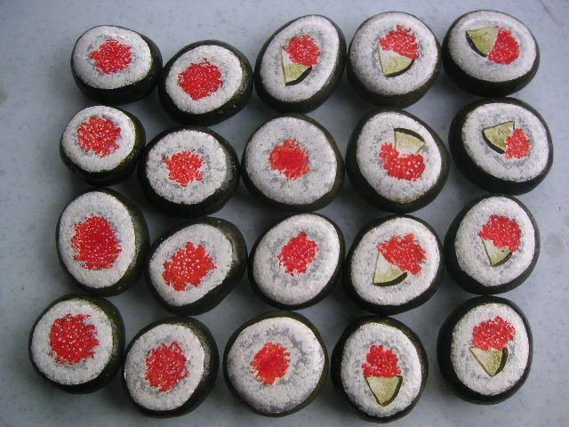 Sushi rock painting