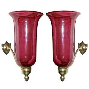 For Sale On   PAIR Of Beautiful Cranberry Glass And Brass Hurricane Sconces.  Federal Form With Shield Back Plate