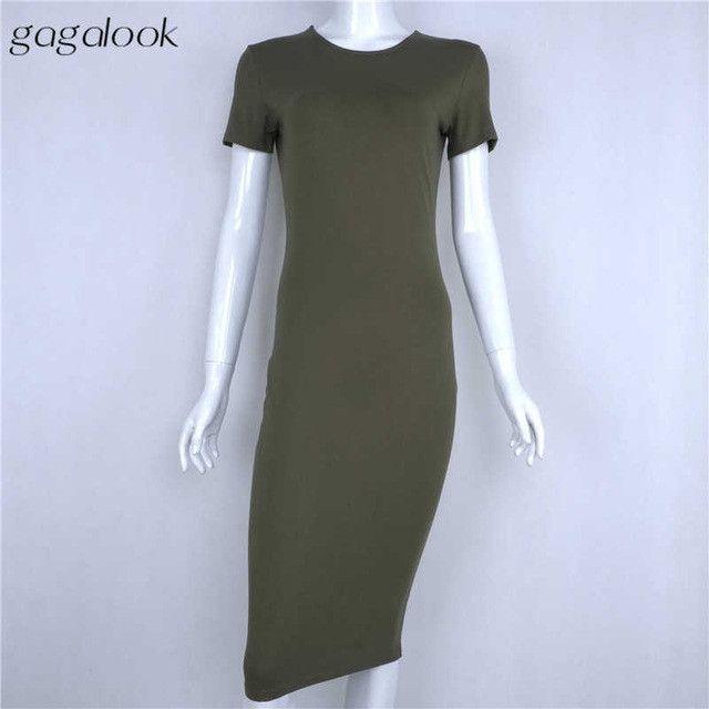 Gagalook Brand Summer Dress Women Black Robe Sexy Bodycon Office Midi Party Dresses Vestidos