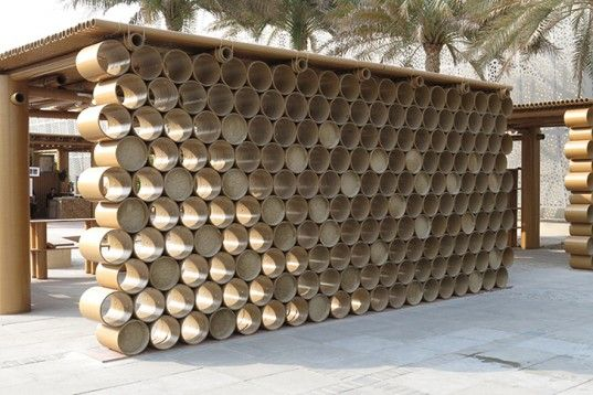 Shigeru Ban, cardboard pavilion, Abu Dhabi Art Design Souq, Abu Dhabi, cardboard tubes, Architecture, Recycled Materials, Daylighting, Green Materials, Disaster-proof design,