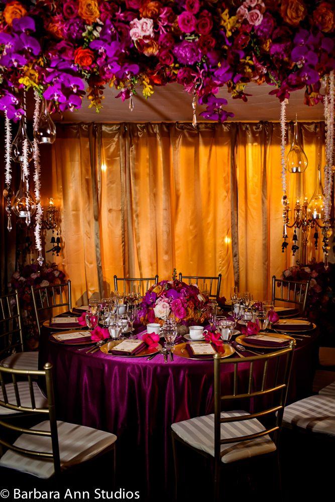 Fuschia, gold, aubergene. Mandap setup. Wedding reception. Photo by @barbaraastudios