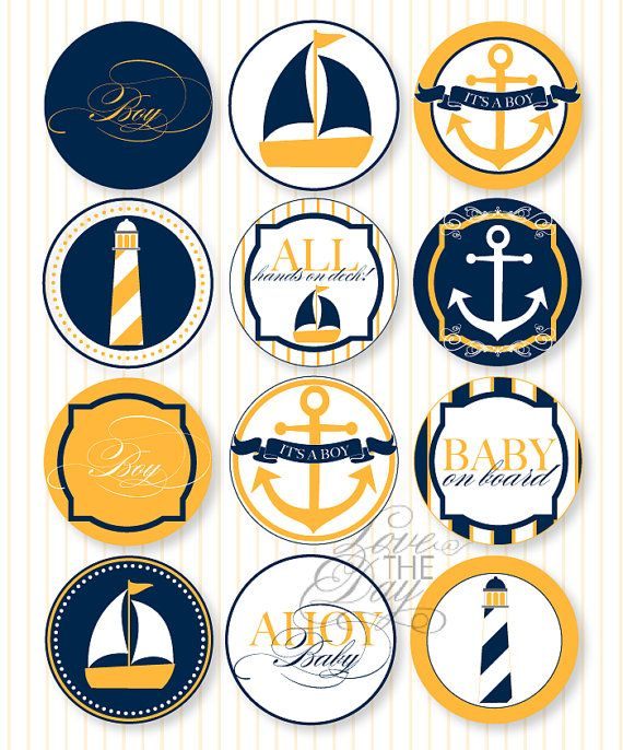 Nautical Baby Shower PRINTABLE Party Circles by Love by lovetheday, $12.00