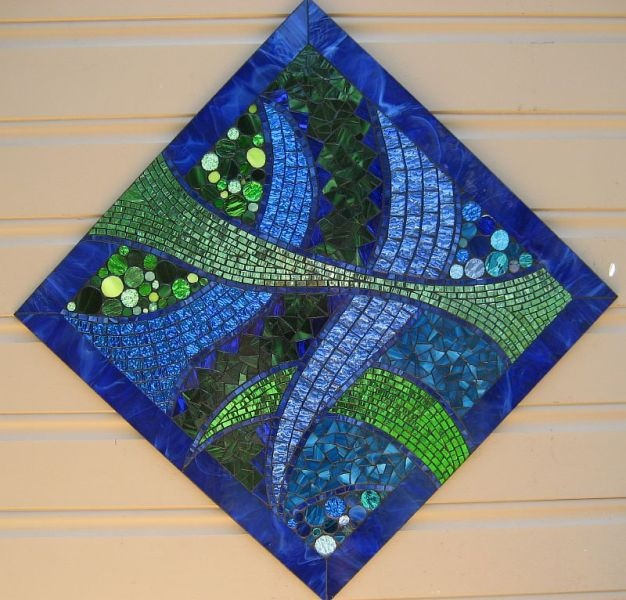 blue green abstract by Glenys Fentiman