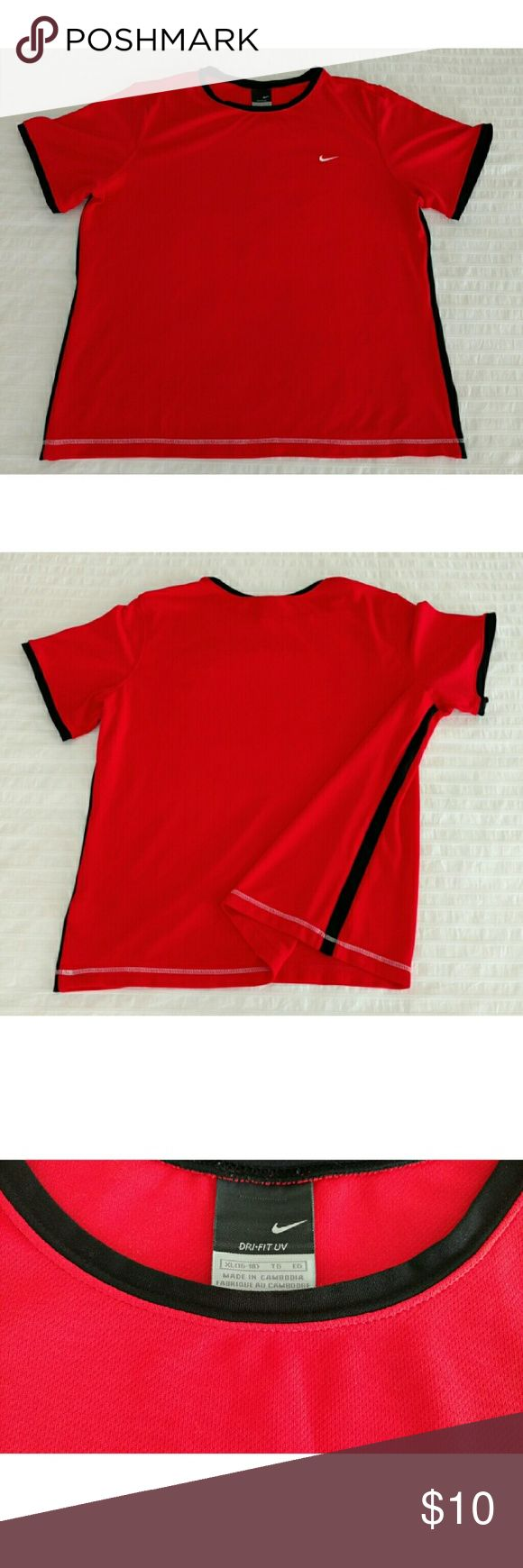 """Nike Dri-Fit UV tee Short-sleeved Nike Dri-Fit UV shirt in true red with black details. 22"""" underarm to underarm, 25.25"""" shoulder hem at neck to bottom front hem, 8.5"""" shoulder hem to end of sleeve. Priced to reflect flaw: minor pull in fabric on front of left arm - see photo. 100% polyester, machine washable. No trades, no modeling. Nike Shirts & Tops Tees - Short Sleeve"""