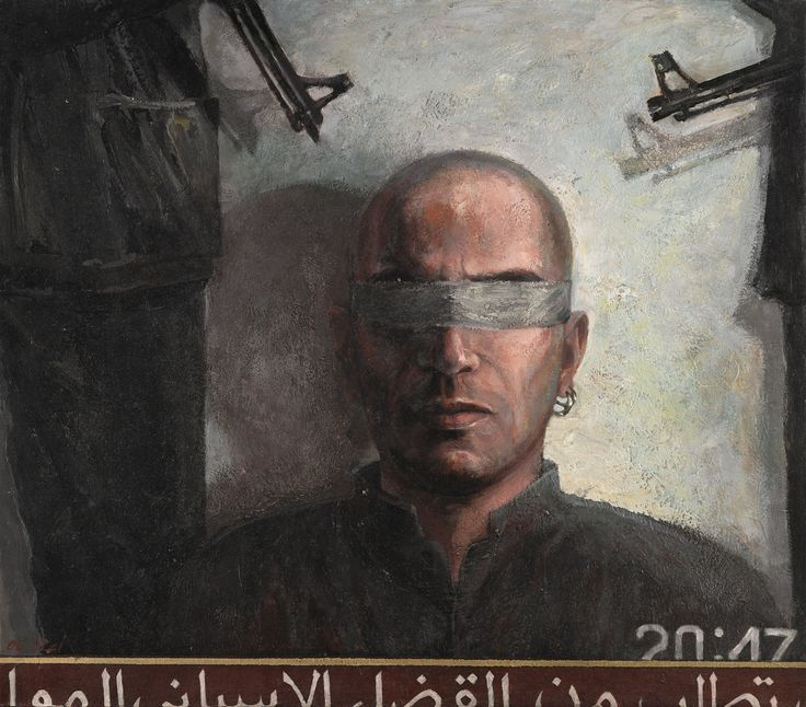 https://flic.kr/p/RJAYLC | Ayman Baalbaki - Prisoner of War [2006] | Ayman Baalbaki (born Adaisseh, 1975) is a Lebanese painter. He studied at the Lebanese University and at the École nationale supérieure des arts décoratifs in Paris. His large-scale expressionist portraits of fighters made him one of the most popular young Arab artists. Born the year the civil war started in Lebanon, Ayman Baalbaki draws most of his inspiration from these events. His paintings often depict destroyed…