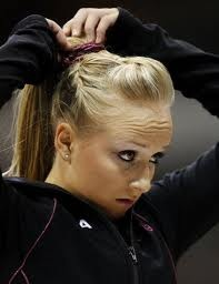 gymnastics hair, beautiful french braids