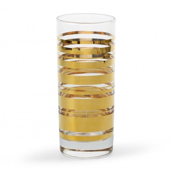 so pretty. Tabletop Decorations - Golden Stripe Highball Glasses (Set of 4) | C. Wonder