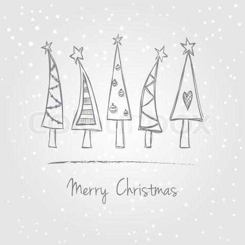 Vector of 'Christmas trees doodle'