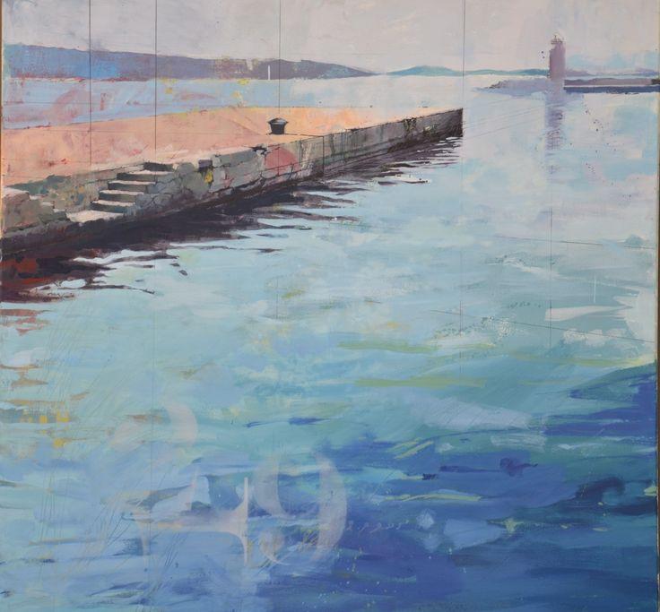 oil on canvas-1250 x 1250-bollard on wharf-Rab Croatia