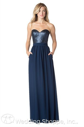 Bari Jay 1630: A glamorous bridesmaid dress with a sequin bodice and long chiffon skirt.